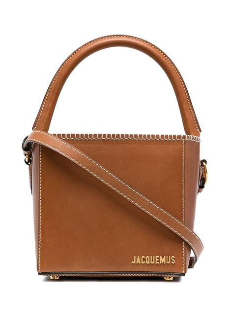 Brown leather  Le seau carré cube bag from  featuring gold-tone Jacquemus logo lettering JACQUEMUS |  | 211BA10-312820