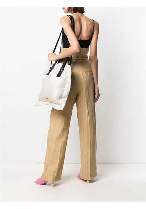Beige and black linen and leather Le Coussin tote bag featuring gold-tone Jacquemus logo  JACQUEMUS |  | 211BA12-305190