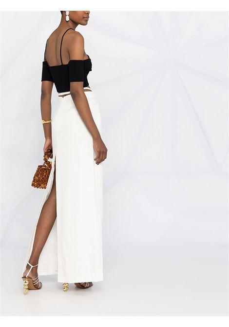 Top in maglia Le haut Soleil con spalle scoperte in cotone nero con lavorazione a maglia fine JACQUEMUS | Maglieria | 211KN06-207990