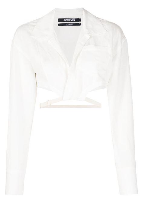White cotton and linen La chemise Laurier cropped shirt  JACQUEMUS |  | 211SH05-111110