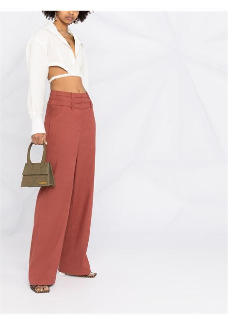 Camicia cropped La chemise Laurier in cotone e lino bianco con collo alla francese JACQUEMUS | Camicie | 211SH05-111110