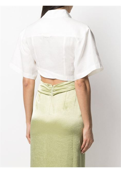 Top La chemise Capri a maniche corte in lino bianco con orlo asimmetrico JACQUEMUS | Camicie | 211SH08-108114