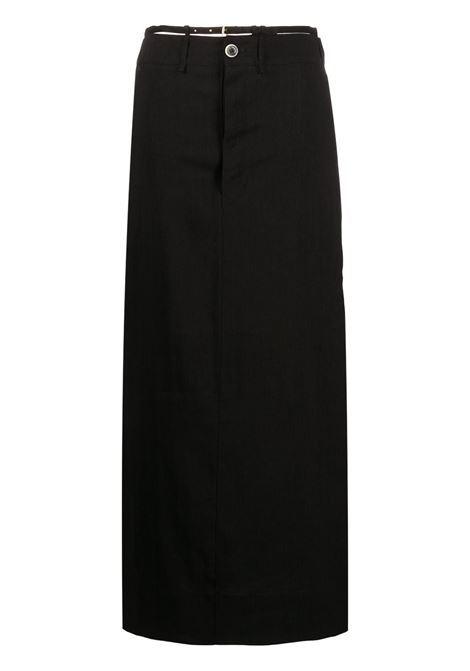 Maxi gonna nera in canapa con cinturino regolabile in vita JACQUEMUS | Gonne | 211SK04-103990