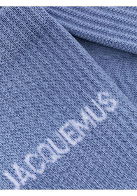 Calzini in misto cotone elasticizzato bianco e azzurro con stampa logata bianca Jacquemus JACQUEMUS | Calzini | 215AC09-500350