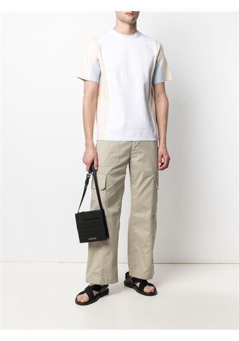 T-shirt Colza in misto cotone bianco, beige e blu con struttura in maglia JACQUEMUS | Maglieria | 215KN14-226010
