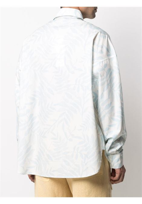 White and light blue cotton leaf-print shirt  JACQUEMUS |  | 215SH05-113143