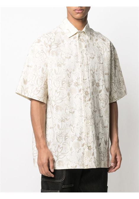 Cream cotton-linen blend floral-print shirt   JACQUEMUS |  | 215SH09-118833