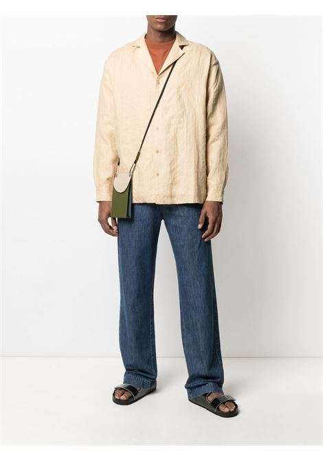 Beige linen and raffia stripe-embroidered buttoned shirt  JACQUEMUS |  | 215SH11-120810