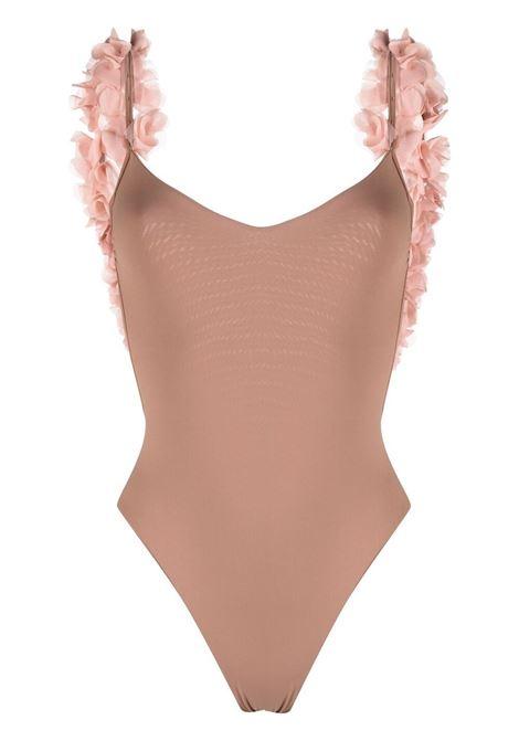 Sand brown Amira high-cut leg swimsuit featuring pink floral appliqué LA REVECHE |  | AMIRASAND