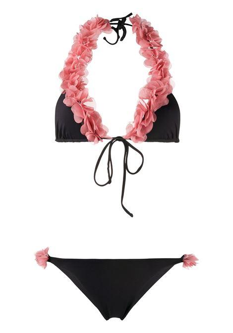 bikini nero Jamila con volant rosa LA REVECHE | Costumi | JAMILABLACK