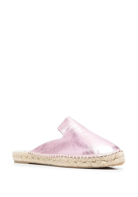 Metallic rose pink leather and raffia espadrille sandals  MANEBI' |  | R13M0-HOLLYWOODROSE
