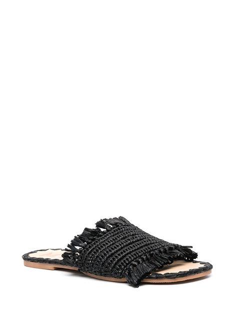 Sandali bassi neri in paglia e pelle con bordo sfrangiato MANEBI' | Sandali | S47Y0-YUCATANBLACK