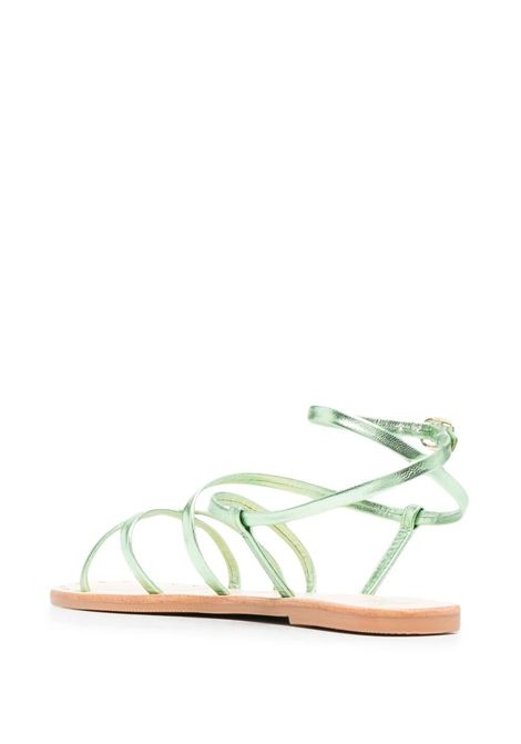 Sandali open-toe in pelle verde e gomma con cinturino in pelle MANEBI' | Sandali | S61Y0-HOLLYWOODEMERALD GOLD