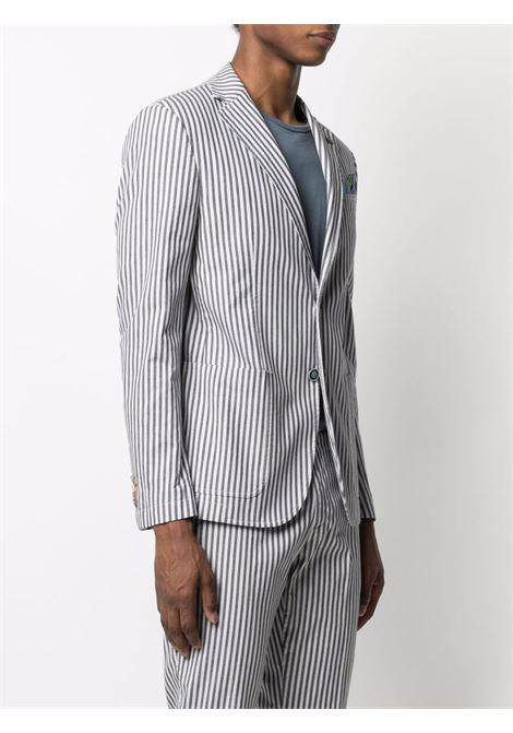 Navy blue and white linen striped single-breasted blazer  MANUEL RITZ |  | 2032G2518L-21302088