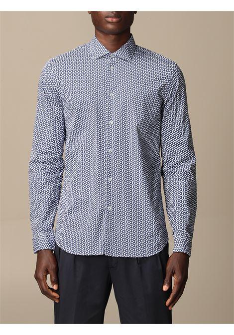 Blue and white cotton micro floral-print shirt  MANUEL RITZ |  | 3032E601L-21324188