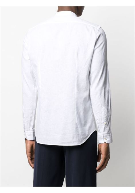 White cotton and linen shirt featuring band collar MANUEL RITZ |  | 3032E604L-21323702