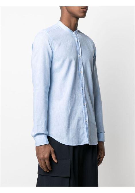 Camicia blu in cotone e lino con collo alla coreana MANUEL RITZ | Camicie | 3032E604L-21323780