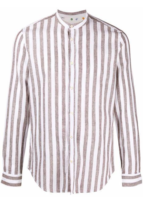 Camicia senza collo a righe marrone chiaro e bianco in cotone e lino MANUEL RITZ | Camicie | 3032E604L-21324230