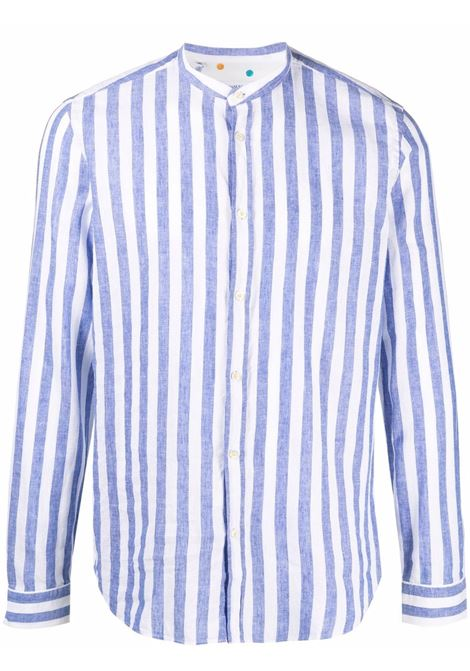 Camicia a righe senza collo in cotone e lino blu e bianco MANUEL RITZ | Camicie | 3032E604L-21324287