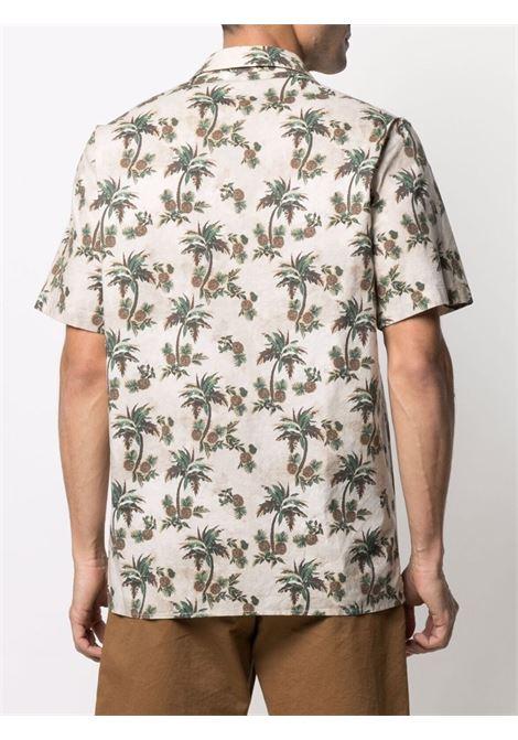 camicia in cotone beige a maniche corte con stampa ananas MANUEL RITZ   Camicie   3032E607L-21325625
