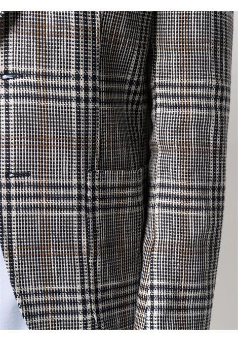 blazer monopetto a quadri in cotone beige con revers a dente MANUEL RITZ | Giacche | 3032G2038-21312589