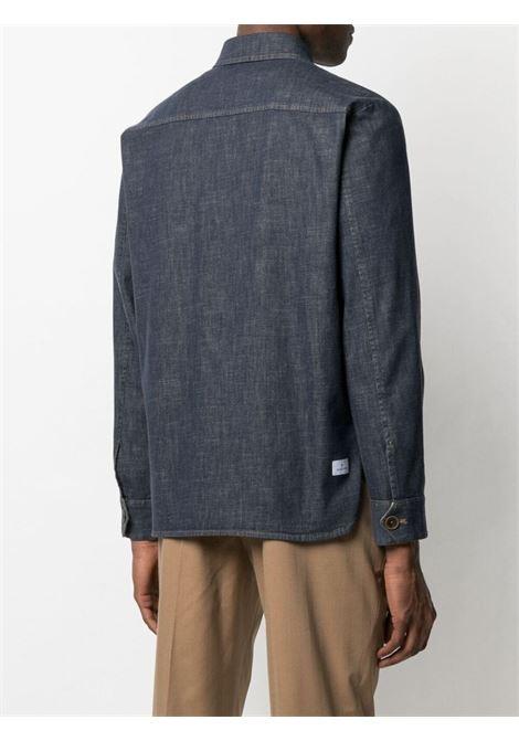 Giacca-camicia blu in cotone e lino lavato MANUEL RITZ | Giacche | 3032G2440LX-21301989