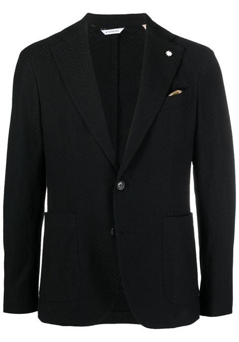 Blazer monopetto in misto cotone nero con jacquard fantasia MANUEL RITZ | Giacche | 3032G2728M-21318899