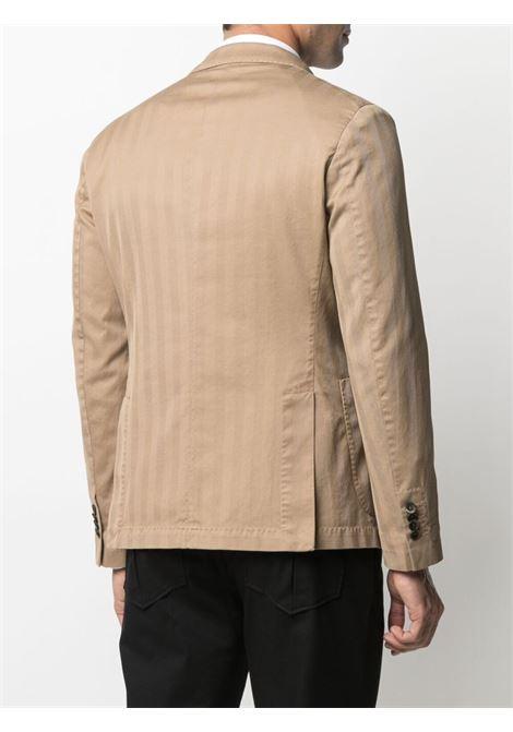 Blazer doppiopetto a righe in cotone cammello con motivo a righe verticali MANUEL RITZ | Giacche | 3032G2738T-21300323