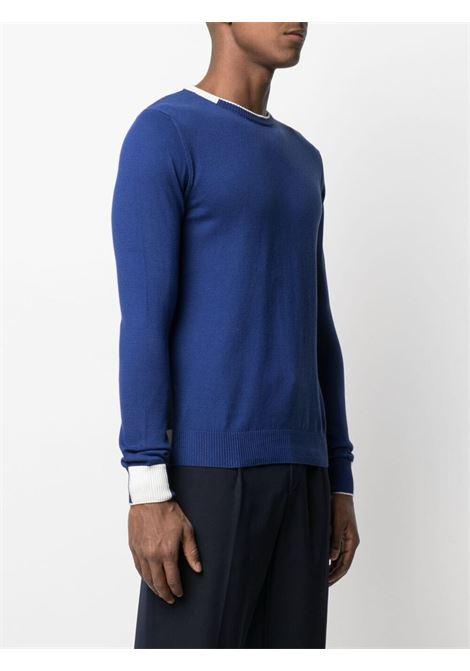 Maglione con scollo a contrasto in cotone bianco e blu royal con dettagli a coste MANUEL RITZ | Maglieria | 3032M500-21331588
