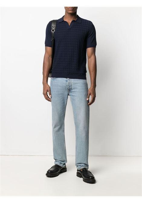 Polo in cotone blu navy in motivo a quadri argyle MANUEL RITZ | Polo | 3032M505-21331989