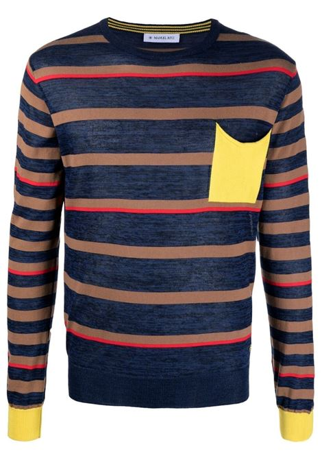Navy blue and red cotton stripe knit jumper  MANUEL RITZ |  | 3032M508-21332188