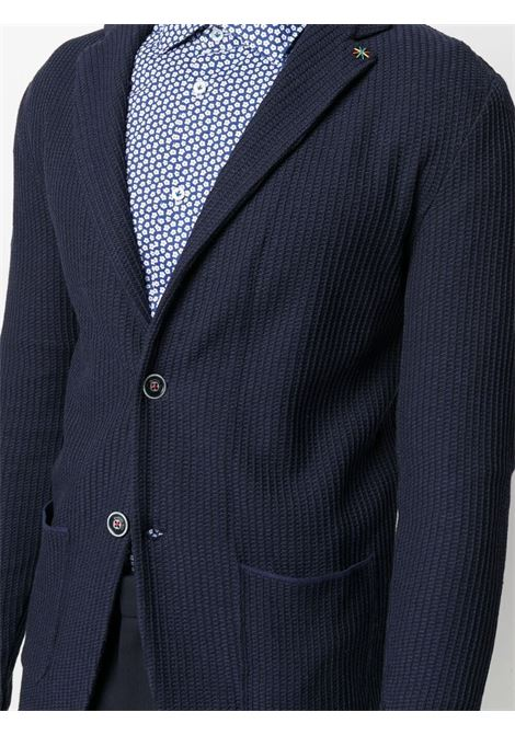 Navy blue cotton fitted single-breasted blazer  MANUEL RITZ |  | 3032M590-21330009