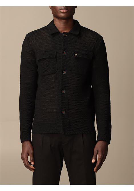 Camicia in maglia fine di cotone nero MANUEL RITZ | Cardigan | 3032M591-21330399