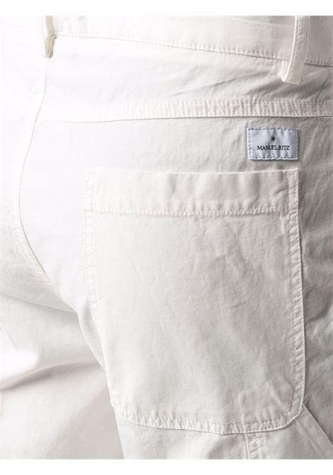 Pantaloni in lino bianco gesso MANUEL RITZ | Pantaloni | 3032P1478T-21300702