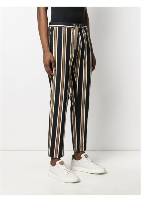 Black,white and beige cotton and linen blend straight-leg trousers MANUEL RITZ |  | 3032P1618L-21302088