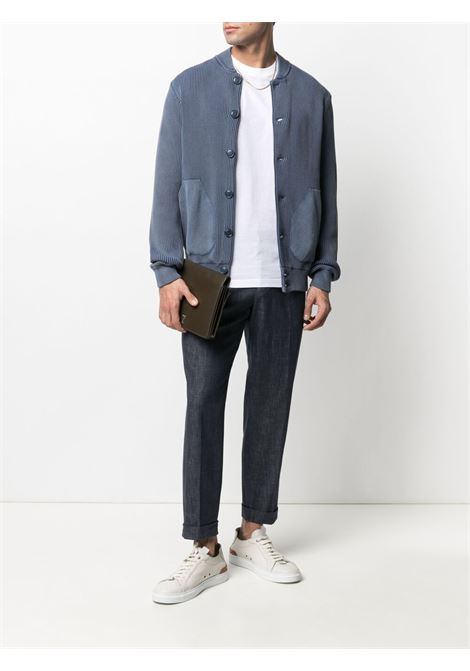 Blue cotton box-pleated tapered trousers  MANUEL RITZ |  | 3032P1658LX-21301989