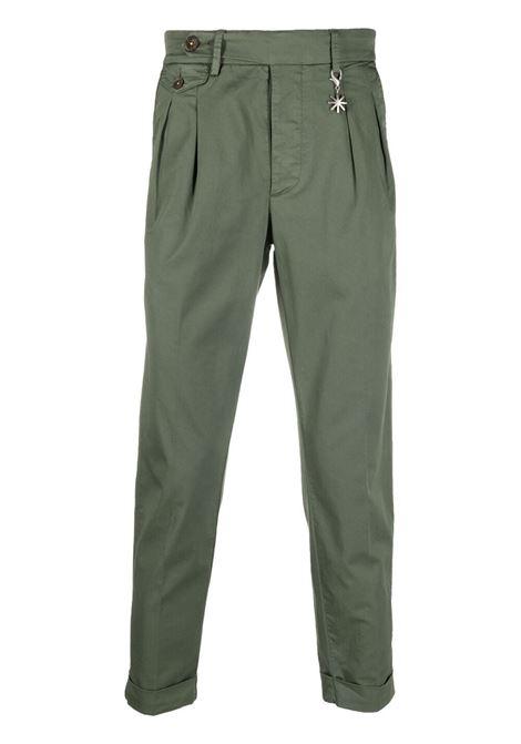 Pantaloni chino affusolati in cotone elasticizzato verde militare MANUEL RITZ | Pantaloni | 3032P1668T-21328137