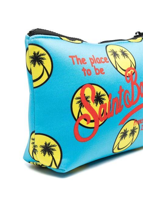 pouch in neoprene celeste con stampa Smile gialla MC2 | Pouch | ALINE-PALM SMILE56