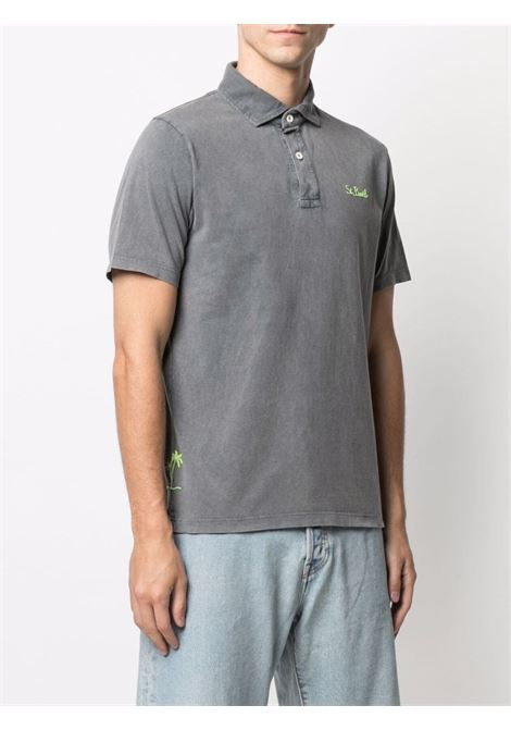 Polo a maniche corte in cotone grigio con logo MC2 giallo fluo MC2 | Polo | BRIGHTON15