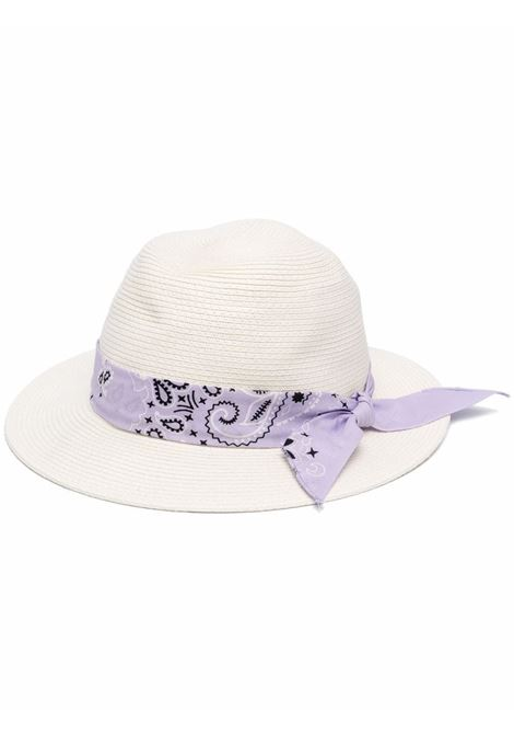 Wide-brimmed hat in ecru straw with pink cotton  MC2 |  | CHAPEAUX-BANDANNA ROUND2401