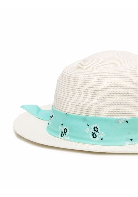 Wide-brimmed hat in ecru straw with green cotton band MC2 |  | CHAPEAUX-BANDANNA ROUND5601