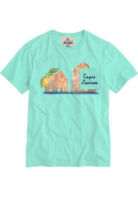 Turquoise linen graphic-print T-shirt  MC2 |  | ECSTASEA-EMB CAPRI56