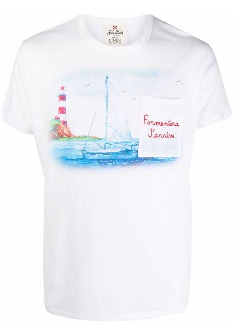 T-shirt Formentera J'arrive in lino bianco MC2   T-shirt   ECSTASEA-EMB FORMENTERA01N