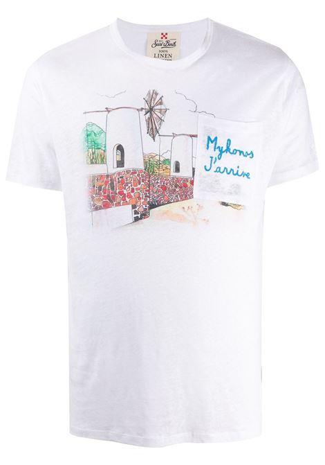 T-shirt in lino bianco ricamata Mykonos MC2   T-shirt   ECSTASEA-EMB MYKONOS01