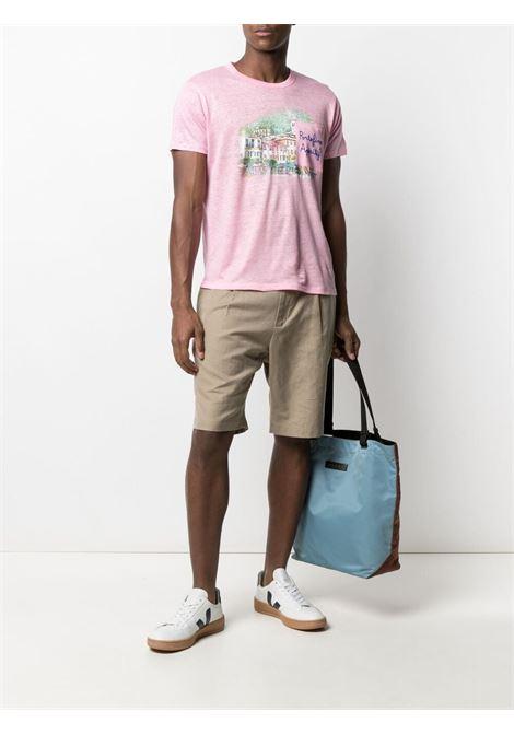 Pastel pink linen graphic-print T-shirt  MC2 |  | ECSTASEA-EMB PORTO APERITIF21