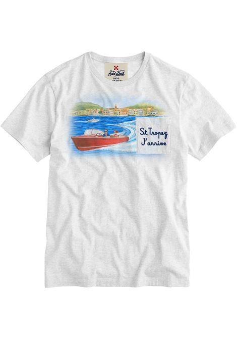 T-shirt in lino bianco con stampa grafica St Tropez MC2 | T-shirt | ECSTASEA-EMB TROPEZ01N