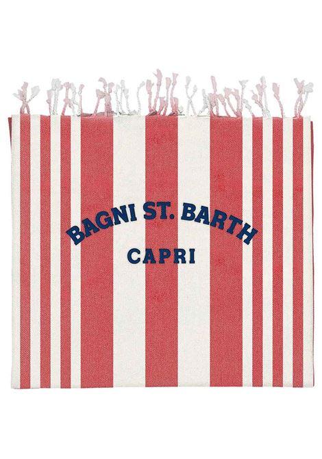 Red and cream cotton striped beach blanket featuring vertical stripe MC2 |  | FOUTAS LIGHT N-EMB CAPRI STRIPES41