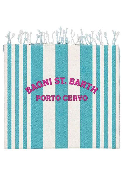Light blue and off-white cotton striped beach blanket  MC2 |  | FOUTAS LIGHT N-EMB PCERVO STRIPE56