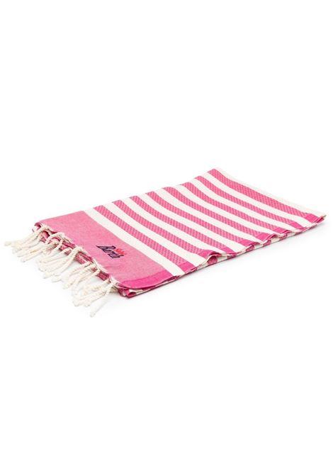 Rose pink cotton beach towel featuring horizontal stripe pattern MC2 |  | FOUTAS-LIG77