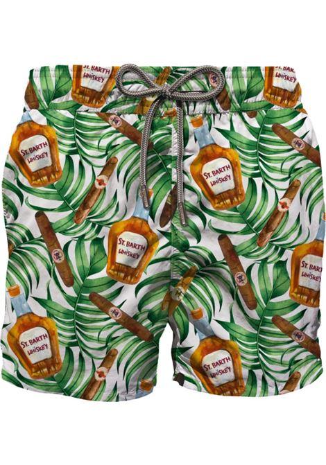 Pantaloncini da bagno con stampa a foglie verdi e bottigliette di whisky MC2 | Costumi | GUSTAVIA-BUONA VISTA01